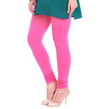 Pink plain 4-Way Lycra Cotton leggings