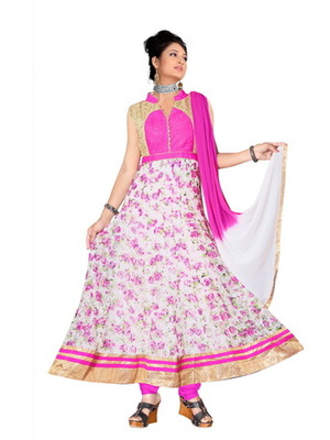 White and pink printed suppernet readymade salwar suit