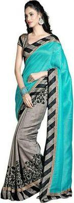 Blue and gary printed bhagalpuri silk saree with blouse