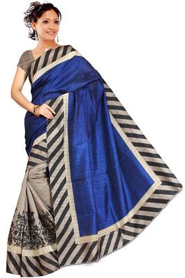 dark blue printed art silk saree with blouse