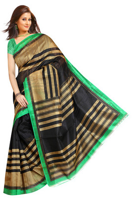 black and green printed art silk saree with blouse