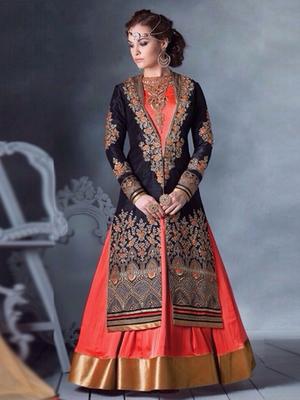 Orange & Blue silk embroidered semi stitched salwar with dupatta