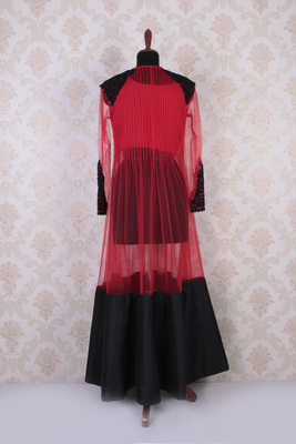 Red and black raw silk and net exquisite anarkali with full sleeves