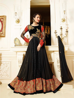 Black Georgette embroidered semi stitched salwar with dupatta