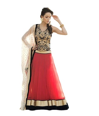 Black and Red Emroidered Velvet and Net Lehenga With Blouse