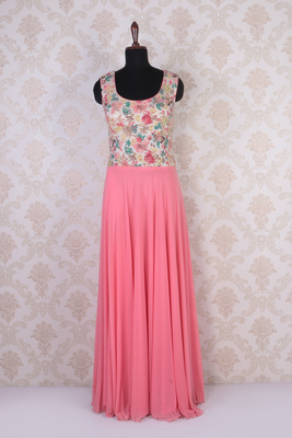 Pink multicoloured georgette embroidered tantalizing kameez with round neck