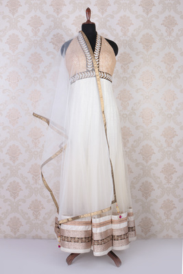 White multicoloured net and shimmer embroidered comely anarkali