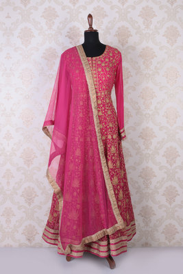 Pink and gold georgette embroidered alluring anarkali with round neck