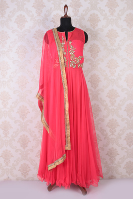 Neon pink net embroidered modish anarkali with round neck
