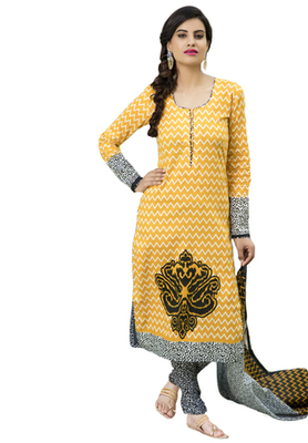 Dark Yellow and Black and White printed Cotton unstitched salwar with dupatta