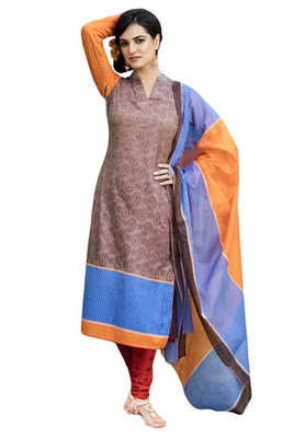 Beige and Blue and Orange printed Cotton unstitched salwar with dupatta