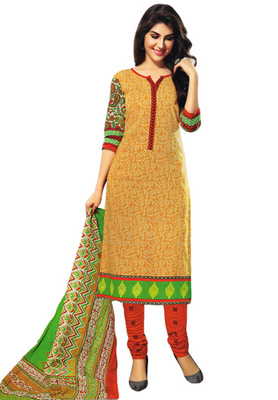 Mustard and Red and Green printed Cotton unstitched salwar with dupatta