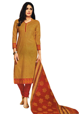 Mustard and Red printed Cotton unstitched salwar with dupatta