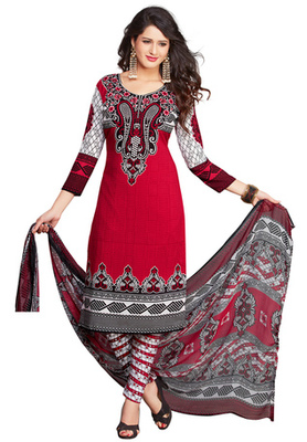 Red and White and Black printed Synthetic unstitched salwar with dupatta