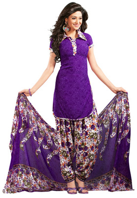 Voilet printed Synthetic unstitched salwar with dupatta