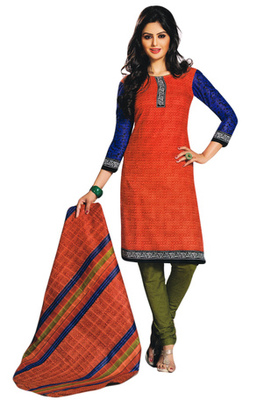 Orange and Mehandi and Blue printed Cotton unstitched salwar with dupatta
