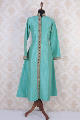 Aqua blue raw silk embroidered ethereal long jacket anarkali with round neck