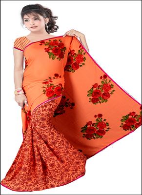 Orange printed rayon saree with blouse