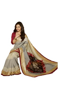 SILVER printed art silk saree with blouse