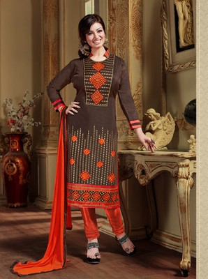 Brown embroidered chanderi and cotton unstitched salwar with dupatta