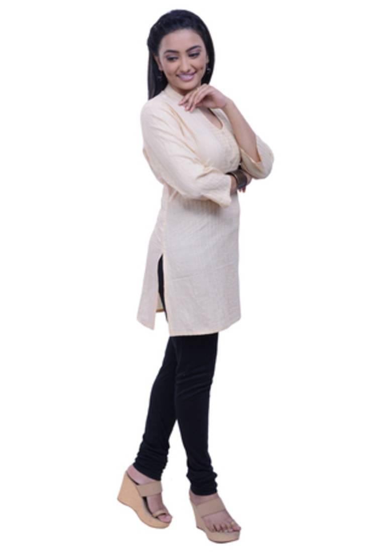 Buy Navrachna Women Beige Cotton Straight Cut Short Kurti