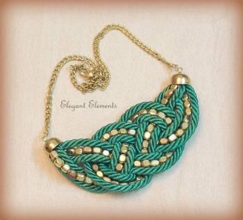 BEST DEAL - Green resham dori and golden beads necklace