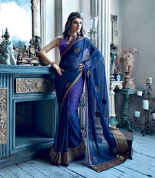 Buy Blue Stone Work and patch patta Work Chiffon saree with blouse heavy-work-saree online