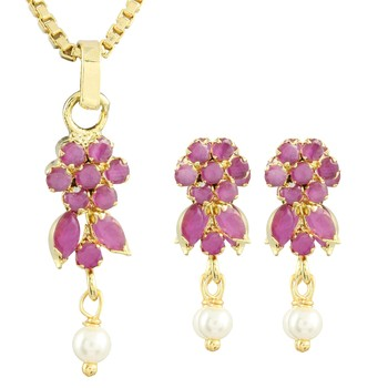 Pink Gold Plated CZ Pendant with Chain and Earrings