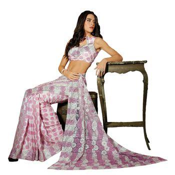 Hypnotex Net Pink Color Designer Saree Dot9015A