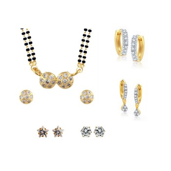 White Combo of Gold Plated Mangalsutra Set & 3 Earrings