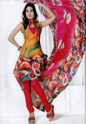 Elegant Spun Cotton Designer Unstitched Salwar Suit D.No 3084
