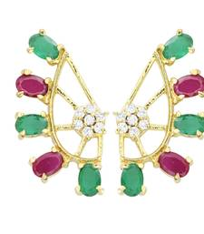 Buy Multicolor  Gold Plated CZ Cuff Earring ear-cuff online