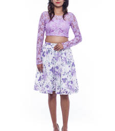 Buy Light violet lace crop top and short  skirt crop-top online