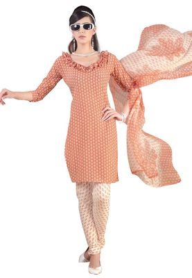 Fabdeal Light Orange & Cream French Crepe Dress Material
