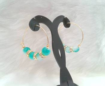 Very pretty casual wear LIGHT BLUE shade beads cz hoops style earring pair