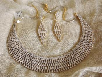 Classy Choker Style Diamond Necklace Set