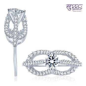 Sukkhi Charming Rhodium Plated CZ Ring
