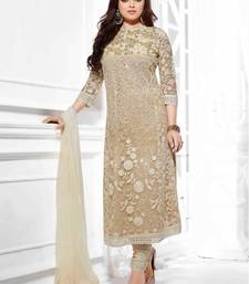 Buy Cream georgette embroidered semi stitiched indian wedding outfit wedding-salwar-kameez online