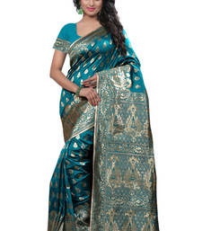 Buy Turquoise plain Banarasi  Silk saree with blouse traditional-saree online