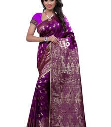 Buy Purple plain Banarasi Silk saree with blouse traditional-saree online