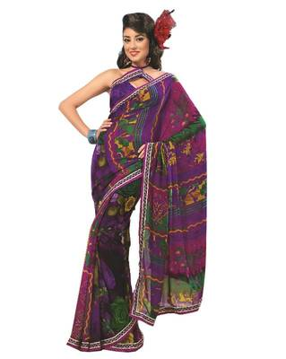 Bollywood Designer Weightless Georgette Saree With Elegant Border & Blouse Piece 4012A