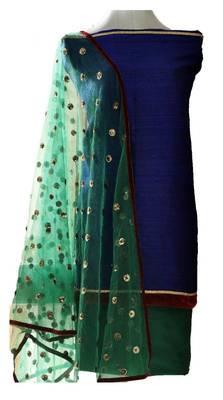 Midnight blue pure raw-silk kurta
