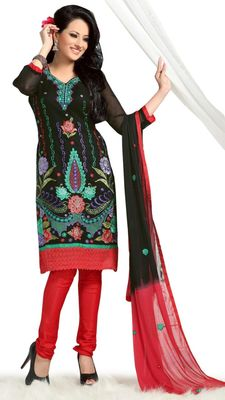 Triveni Black Chanderi Embroidered Salwar Kameez - TSMESK17597