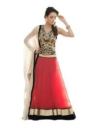 Buy Designer red embroidery worked net lehenga choli with heavy worked blouse lehenga-choli online