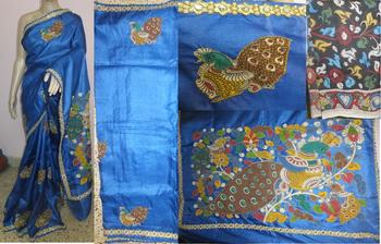 blue hand woven silk kalamkari saree with blouse