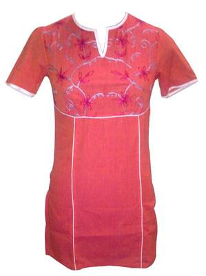 Tomato red Piped tunic