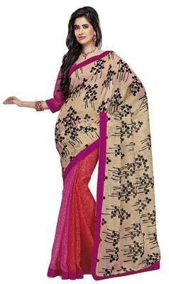 Triveni Red Super Net Bollywood Printed Saree TSSA946b