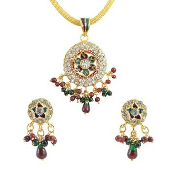 AAKSHI Lovely Red and Green Meenakari  Jewellery Set