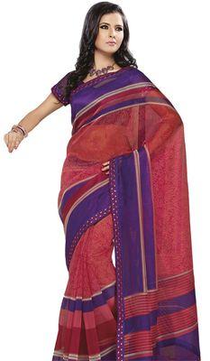 Triveni Pink Super Net Bollywood Printed Saree TSSA952a