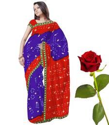 Buy Traditional Tie n Dye Chiffon Saree Valentine Gift valentine-gift online